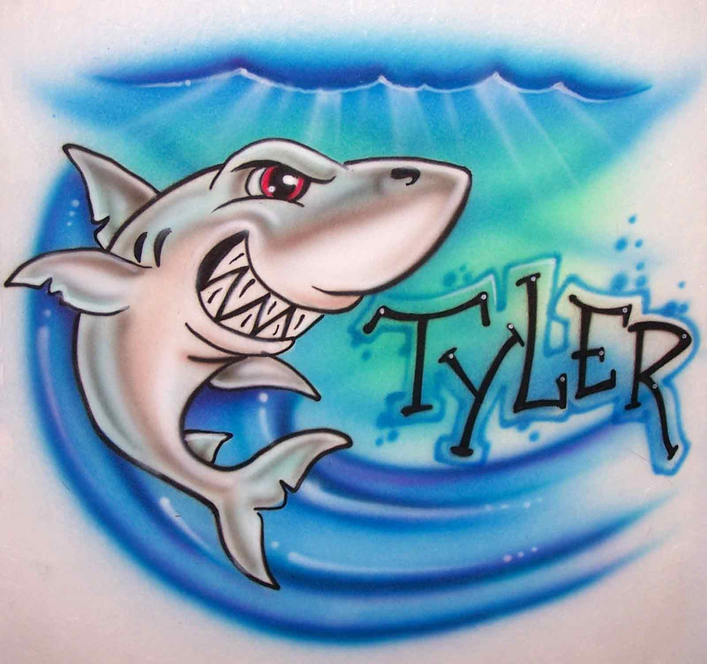 Airbrushed Underwater Shark Attack Design with Any Name Added
