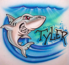Shark and name airbrushed shirt