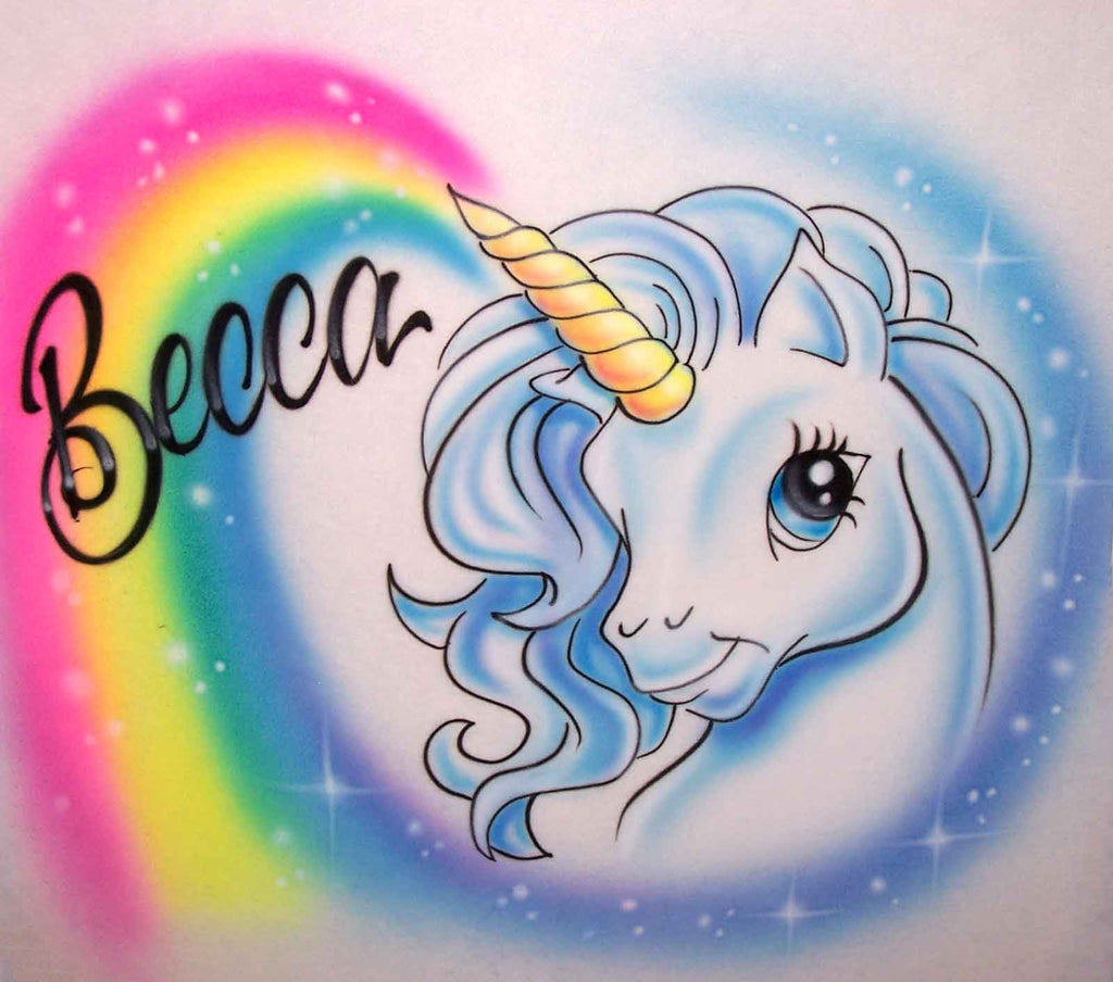 Cartoon Unicorn & Rainbow T-Shirt With Any Name Airbrushed
