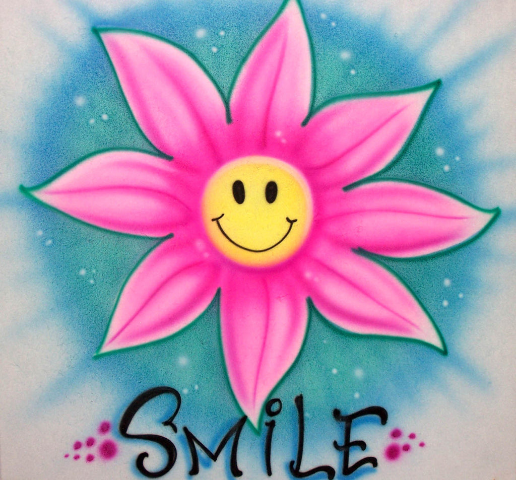 Airbrushed Smiley Face Inside Flower with Any Name of Choice for T's, Sweatshirts, and More