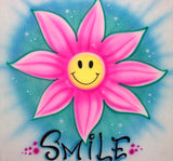 Flower & happy face airbrushed t-shirt