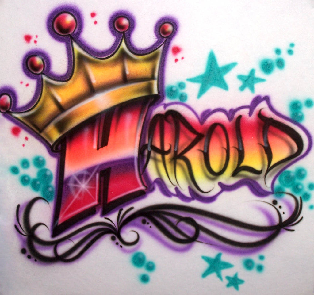 Airbrushed Shirt with Graffiti Name and King's Crown