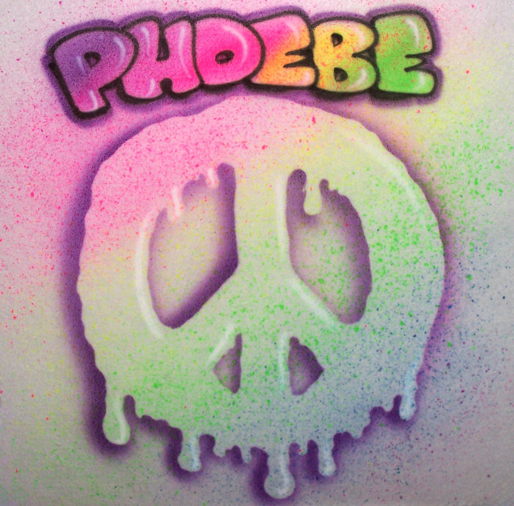Rainbow Color Peace Sign & Bubble letter Name Design