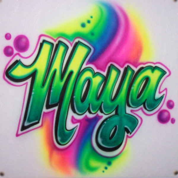 Bright rainbow airbrush name in neon colors