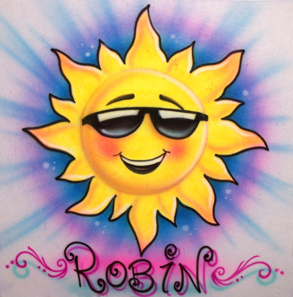 Smiling Sunshine Happy Face Airbrushed T-Shirt with Any Name Added