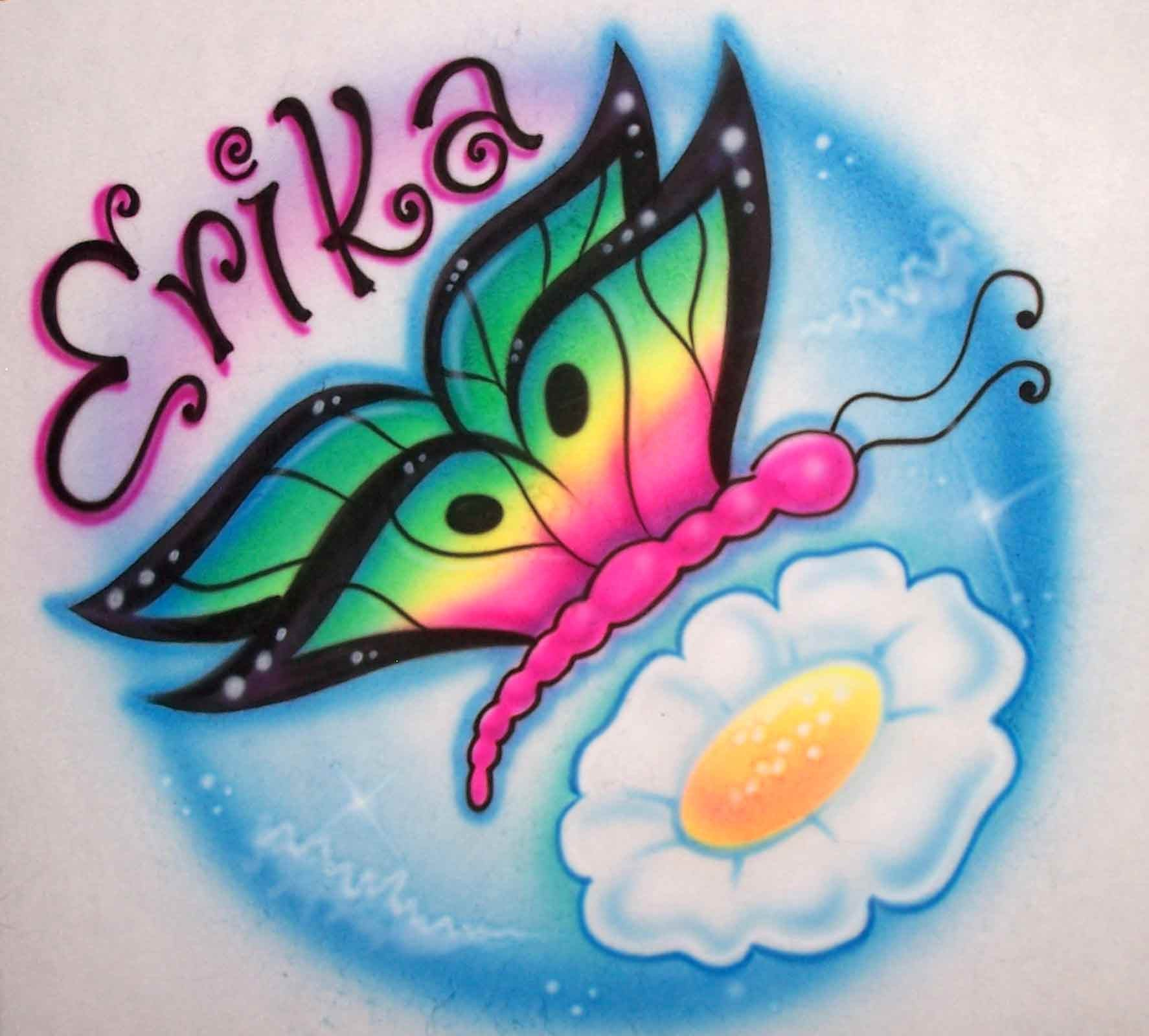 Butterfly & Flower with Any Name of Choice for T's, Sweatshirts, and More