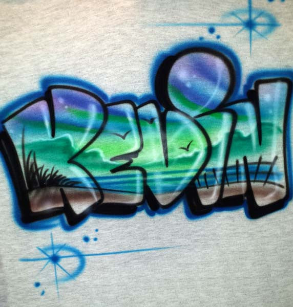 Custom Beach Scene Airbrushed Inside Your Name on Tees, Sweats, & More!!