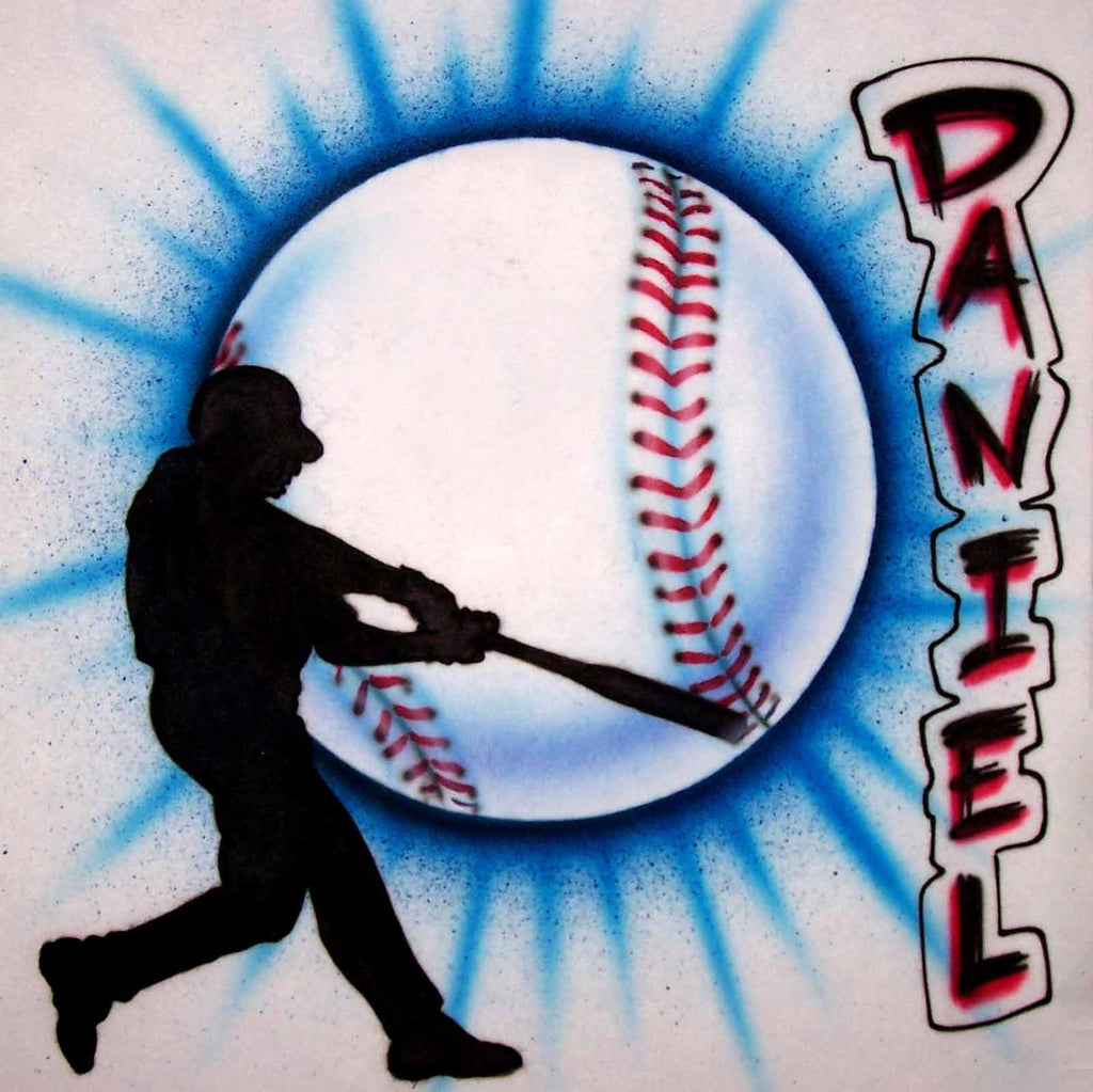 Baseball & Batter Custom Airbrushed Personalized Sports Shirt