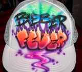 Justin Bieber Fever Airbrushed Flame Letter Trucker Hat
