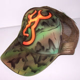 Airbrushed Camo Deer Head Browning Trucker Hat