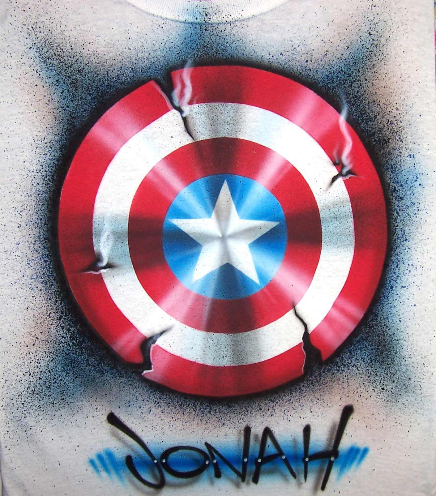 Captain America Shield Airbrushed T-Shirt Sweatshirt or Hoodie