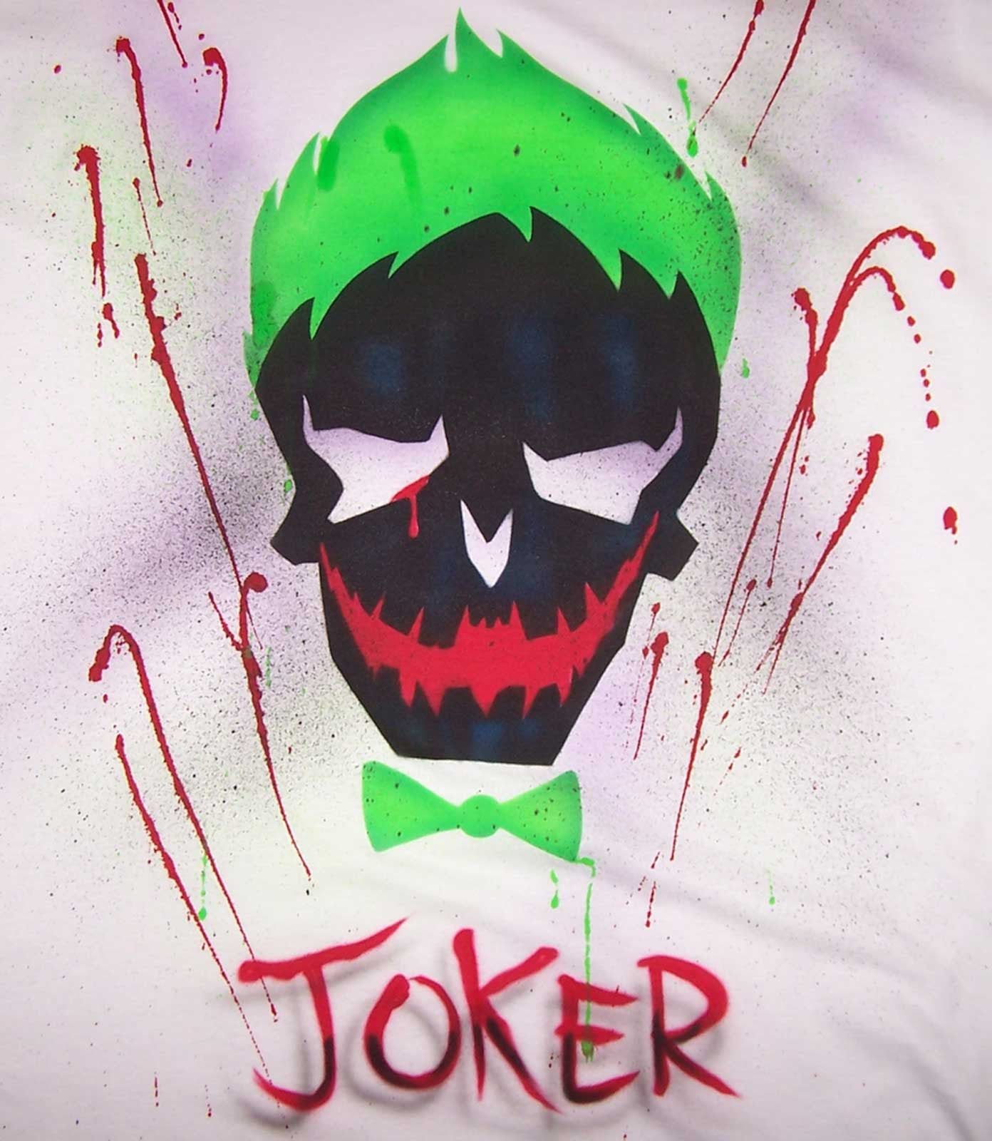 Airbrushed Joker Suicide Squad Shirt Custom Skull Design