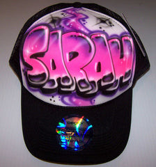 Airbrushed Trucker Snap Back Graffiti Bubble Letter Name Hat