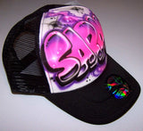 Snap Back Hat With Airbrushed Pink Bubble Letter Name
