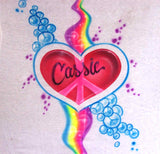 Peace Heart and Rainbow Airbrushed Tees Sweatshirts & Hoodies