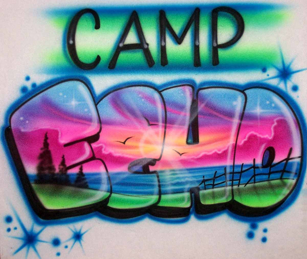 Airbrushed Sunset Lake Scene Inside Any Camp Name. Custom Shirts Available Online