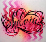 Airbrush chevron pattern fancy script style t-shirt