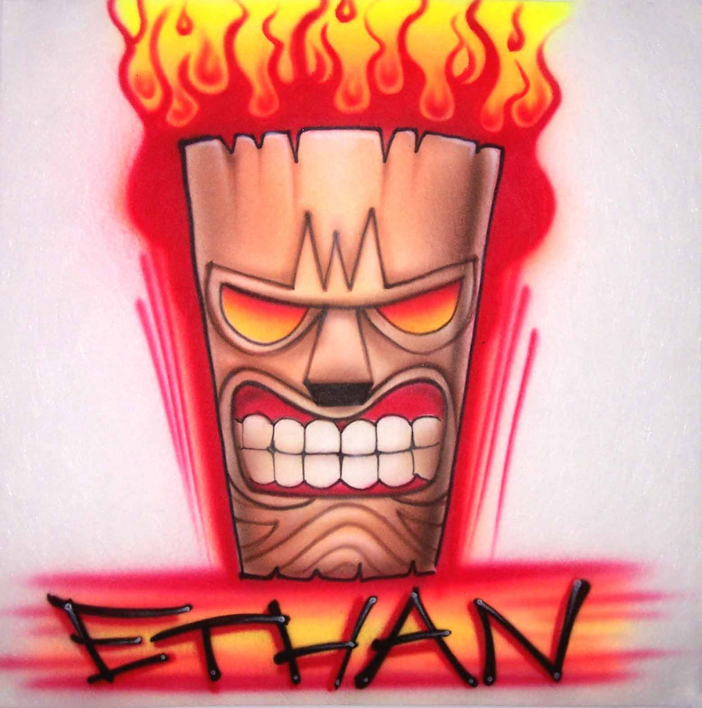 Flaming Mean Face Tiki Torch Airbrushed Shirt with Any Name Added