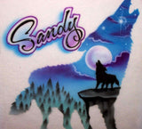 Airbrush Howling wolf and moon t shirt
