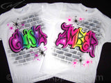 Airbrush Party Graffiti Brick Wall Name T-shirt