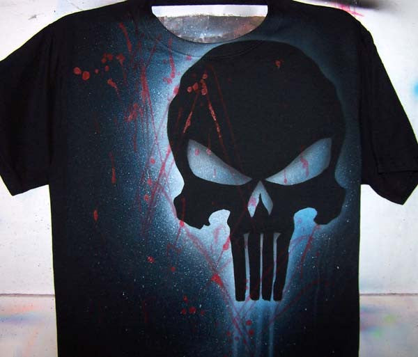 Airbrushed Punisher Inspired Skull Silhouette on Black Shirt