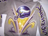 Minnesota Vikings Helmet Airbrushed Sweatshirt Back