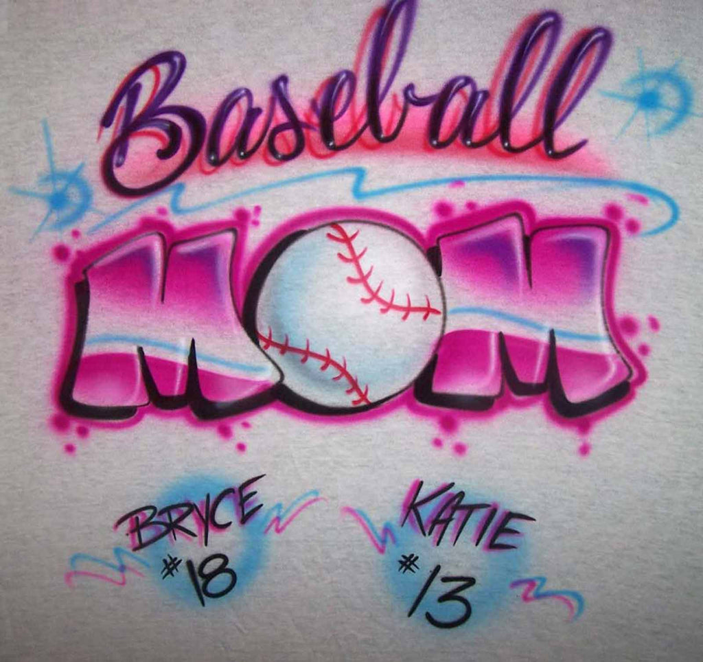 Airbrushed Baseball Mom Shirt Design with Player Name & Numbers