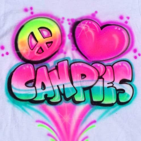 Airbrushed Peace, Love, Campies...Custom Personalized Shirts Available Online