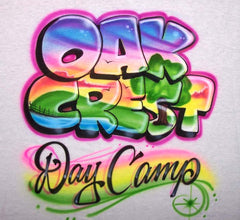Airbrushed Lake Scene Inside Camp Name. Custom T-Shirts & Sweatshirts Online Now!
