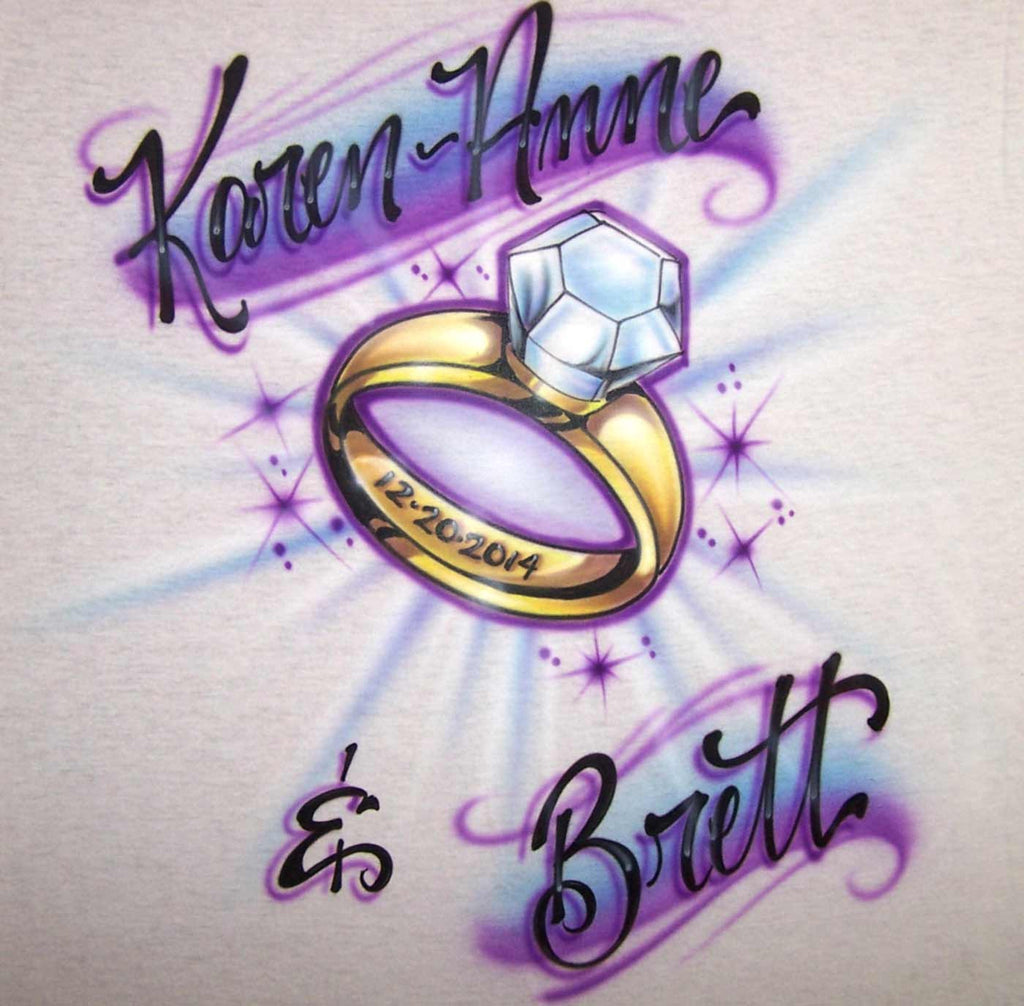 Airbrush Couples Name with Engagement Ring Custom Design For Tees & Sweatshirts