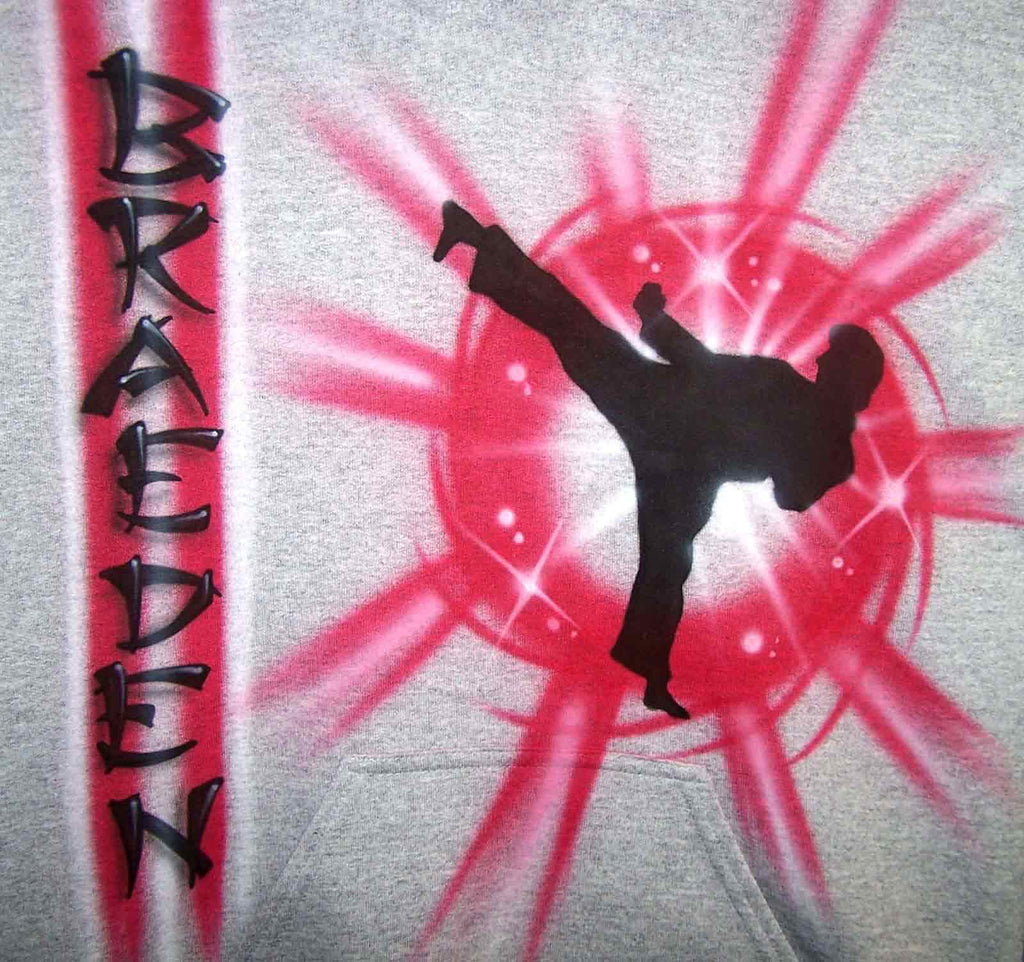 Personalized Side Kick Martial Arts Airbrushed Shirt