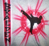 Airbrushed Karate Kick name Shirt Design
