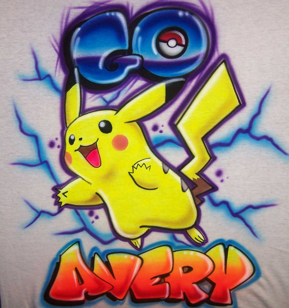 Pokemon Go Airbrushed Pikachu Personalized Shirt Design