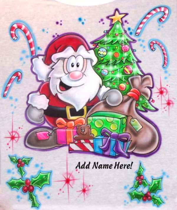 Personalized Airbrushed Cartoon Santa with Xmas Tree Candy Canes T-Shirt Or Sweatshirt