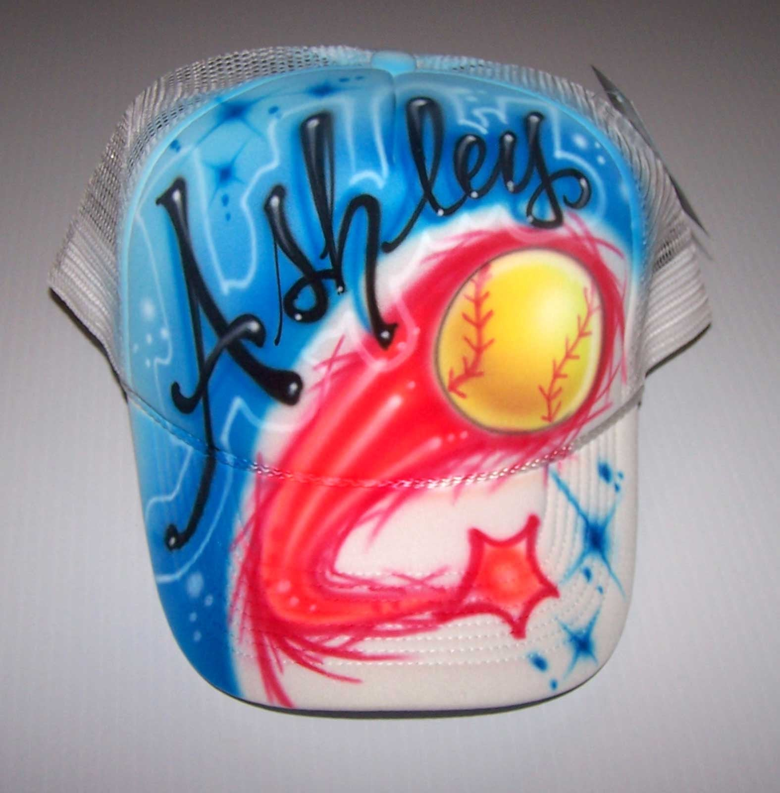 Softball Trucker Hat Airbrushed and Personalized With Any Name