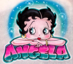 Custom Airbrushed Betty Boop with name T-Shirt or Sweatshirt