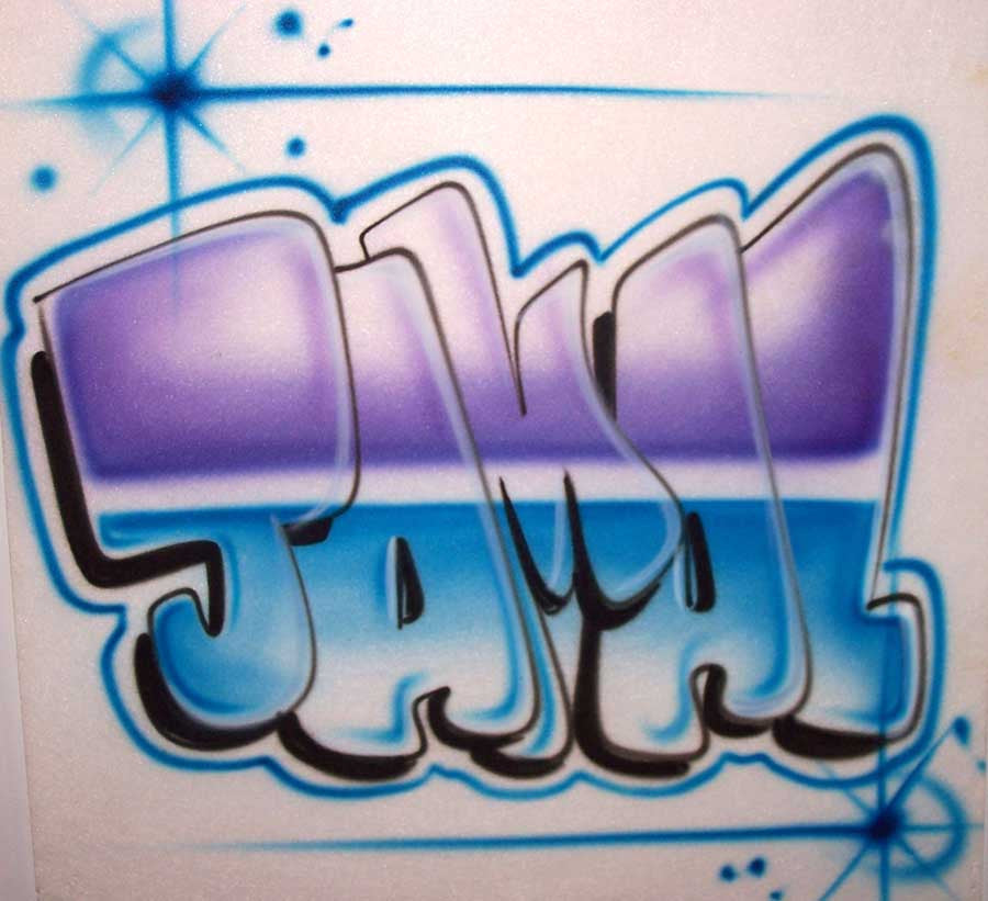 Airbrushed Block Style Name T Shirt