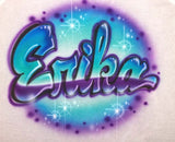 Purple and turquoise airbrushed personalized bubble script font shirt