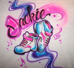 Airbrushed Dance Shoes Freestyle Music Shirt