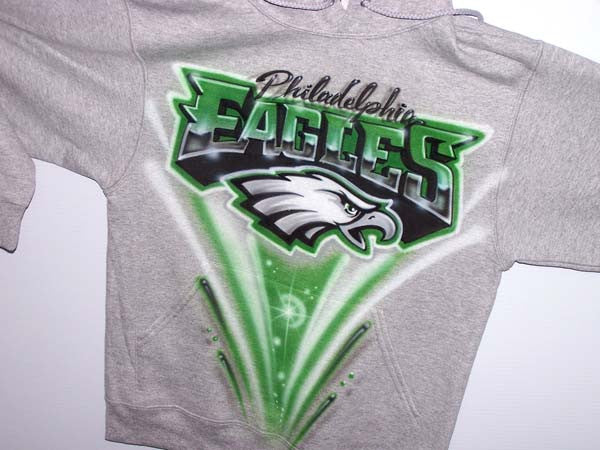 buy popular 3d43a 8051c Philadelphia Eagles Inspired Freestyle Airbrushed T-Shirt or Sweatshirt