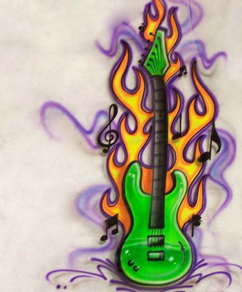 Flaming Guitar and Music Notes Airbrushed Shirt