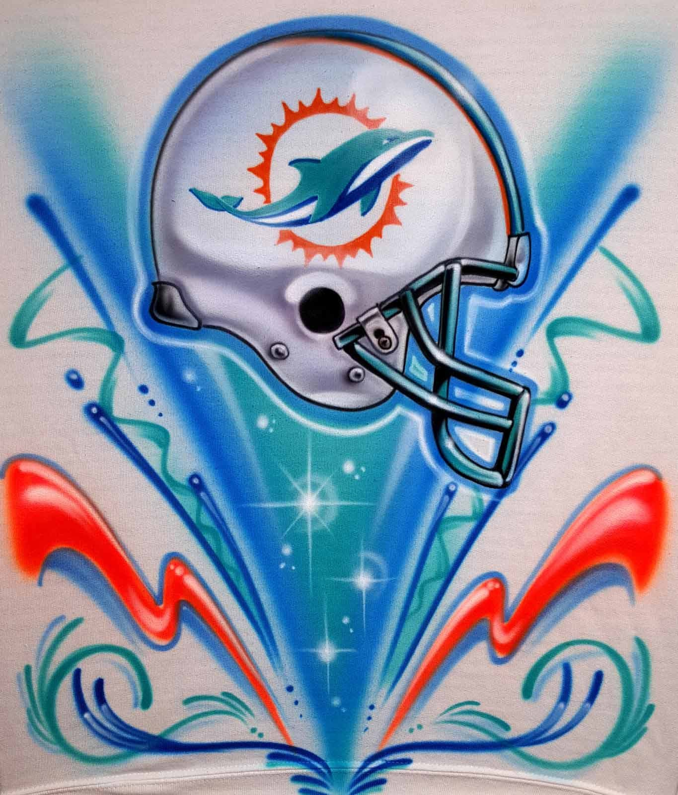 size 40 c5882 481c6 Custom Airbrushed Miami Dolphins Sweatshirt or Hoodie