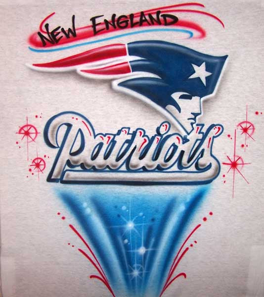New England Patriots Inspired Freestyle Airbrushed T-Shirt or Sweatshirt