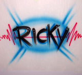Airbrushed red white & blue heartbeat printed name shirt