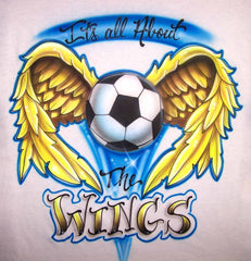 Custom Airbrushed Soccer Ball & Wings Personalized Shirt