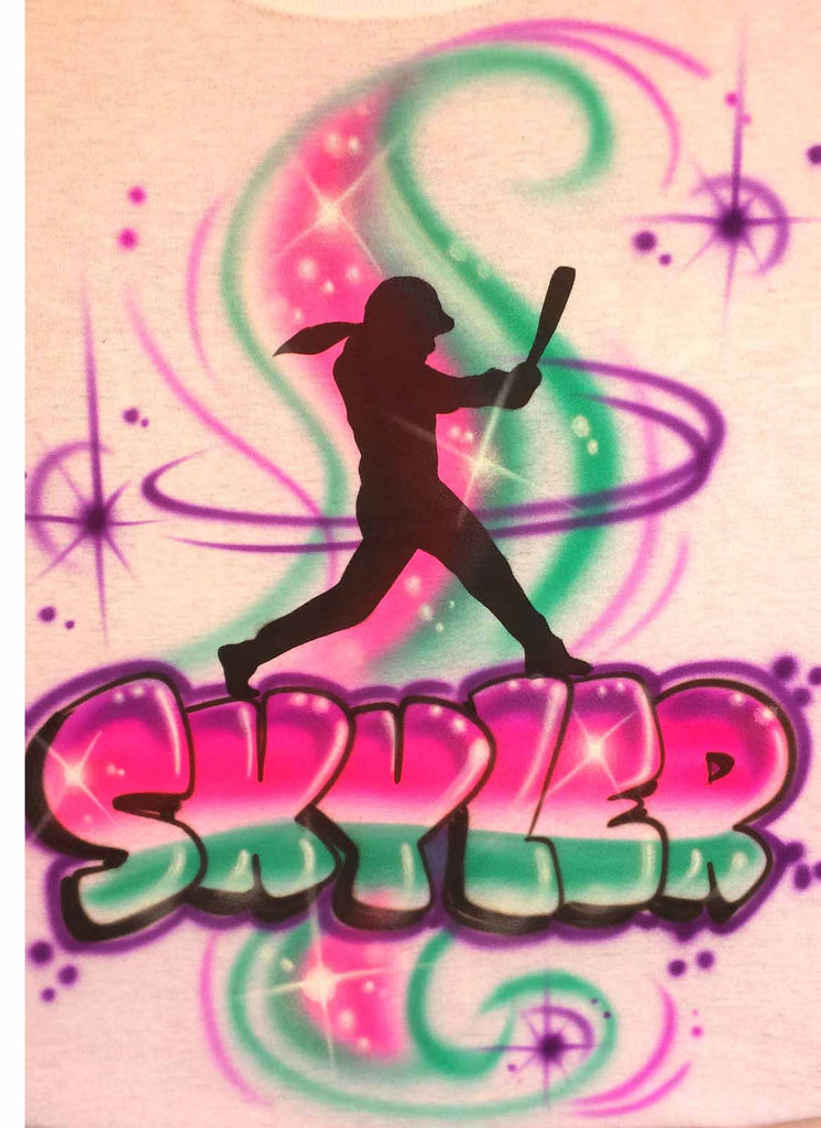 Airbrushed Softball Batter Personalized Custom Shirt