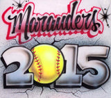 Airbrushed Softball Team Name Year Custom T-Shirt