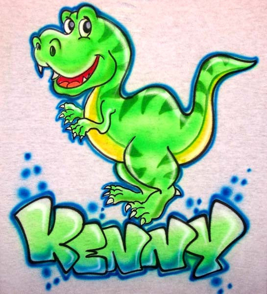 Personalized T-Rex Cartoon Dinosaur Airbrushed Shirt