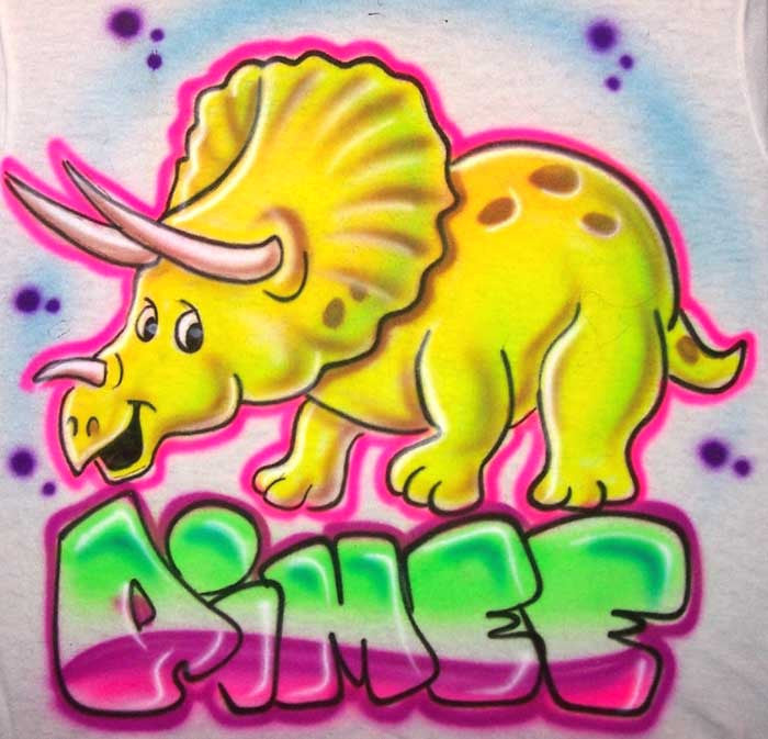 Triceratop Dinosaur Airbrushed & Personalized Shirt Design