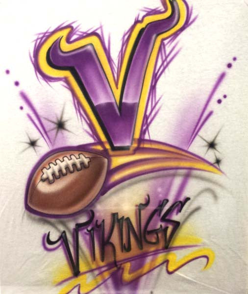 Minnesota Vikings Inspired Freestyle Airbrushed T-Shirt or Sweatshirt